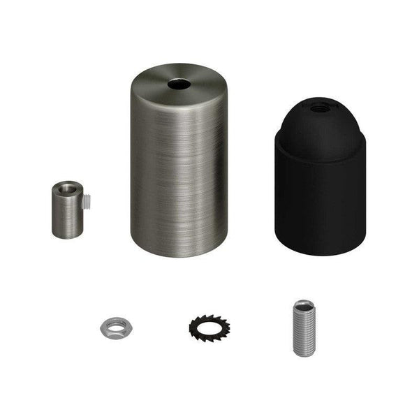E27 Cylinder Fatnings Kit Børstet Krom