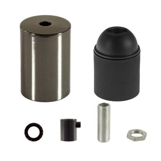 E27 Cylinder Fatnings Kit Klar Sort
