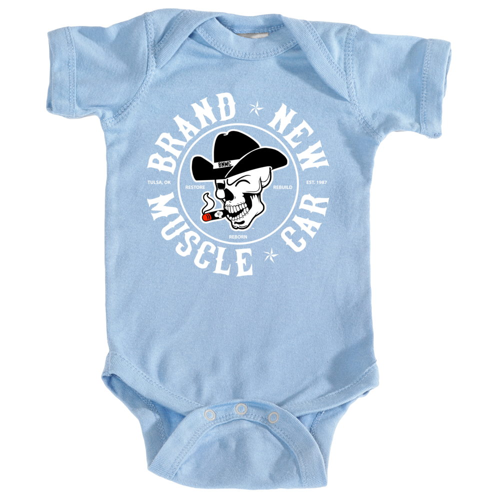 Brand New Muscle Car Bodysuit Infant Baby Design 1 White Ink FRONT ONLY