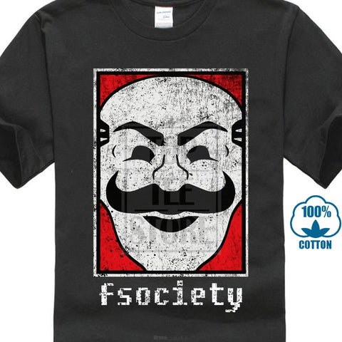 Mr Robot Fsociety Camiseta Logotipo Símbolo Hacker Anonymous Vírus Tv Série da Camisa