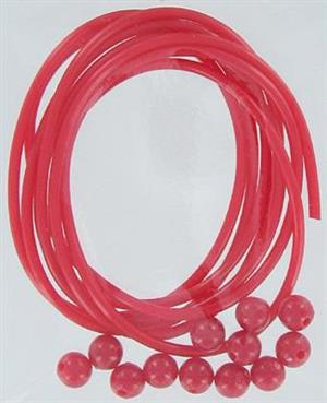 SHOGUN RED TUBE AND BEADS 1mt