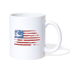 American Flag Faded Mug - white
