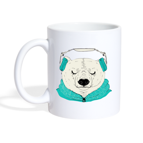 Headphone Polar Bear Mug - white