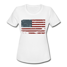 Load image into Gallery viewer, USA Flag Women's Moisture Wicking Performance T-Shirt - white
