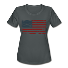 Load image into Gallery viewer, USA Flag Women's Moisture Wicking Performance T-Shirt - charcoal