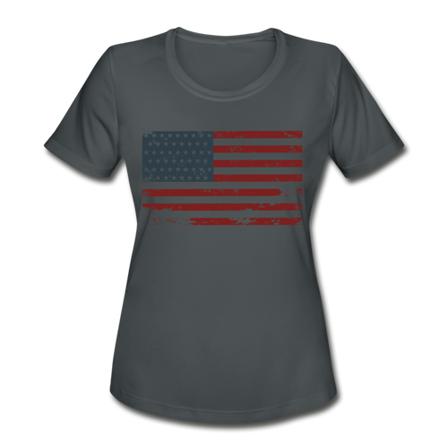 USA Flag Women's Moisture Wicking Performance T-Shirt - charcoal