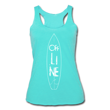 Load image into Gallery viewer, Off Line Surf Women's Racerback Tank - turquoise