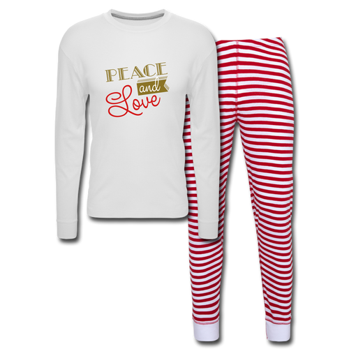 Peace and Love Unisex Pajama Set - white/red stripe