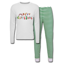 Load image into Gallery viewer, Merry Christmas Unisex Pajama Set - white/green stripe