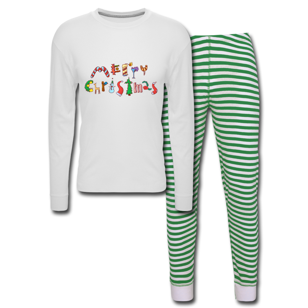 Merry Christmas Unisex Pajama Set - white/green stripe