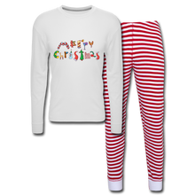 Load image into Gallery viewer, Merry Christmas Unisex Pajama Set - white/red stripe