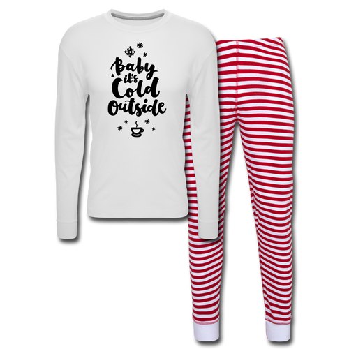Baby its Cold Outside Unisex Pajama Set - white/red stripe