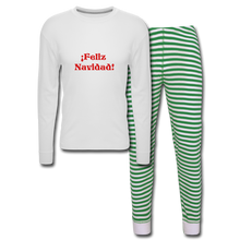 Load image into Gallery viewer, Feliz Navidad  Unisex Pajama Set - white/green stripe