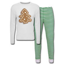 Load image into Gallery viewer, Gingerbread Cookie Unisex Pajama Set - white/green stripe