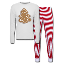 Load image into Gallery viewer, Gingerbread Cookie Unisex Pajama Set - white/red stripe