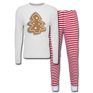 Gingerbread Cookie Unisex Pajama Set - white/red stripe