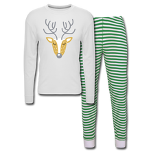 Load image into Gallery viewer, Reindeer Unisex Pajama Set - white/green stripe