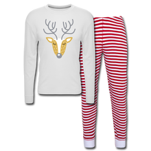 Load image into Gallery viewer, Reindeer Unisex Pajama Set - white/red stripe