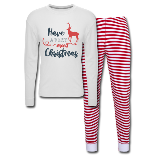 Have a Very Merry Christmas Unisex Pajama Set - white/red stripe