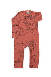 Papaya Sunflower LS Romper