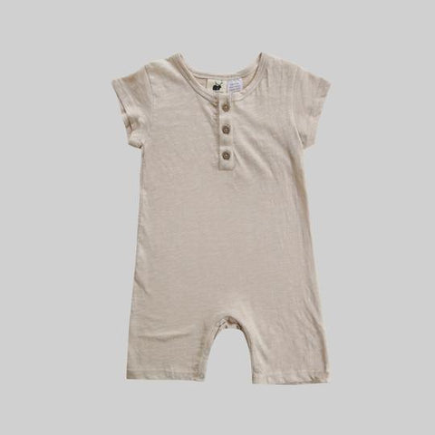 Organic Shorty Playsuit - Oat