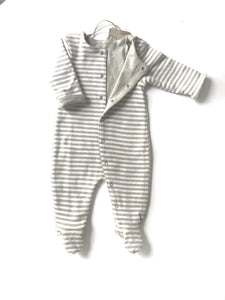 Organic Reversible Footie in Sage and Sage Stripes