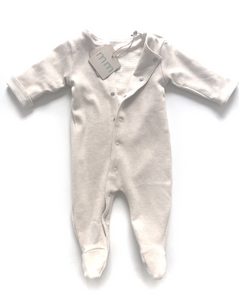 Organic Reversible Footie in Sand and Sand Stripes