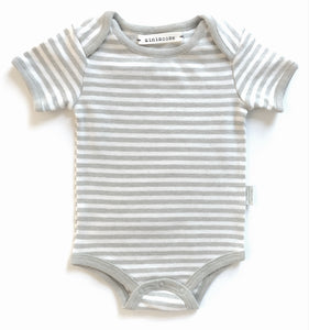 Organic Cotton Short Sleeve Onesie - Green Stripes