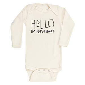 Hello I'm New Here - Organic Onesie- Long Sleeve