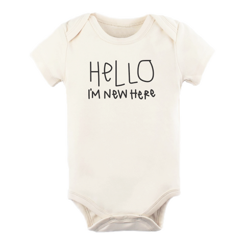 Hello I'm New Here - Organic Onesie- Short Sleeve