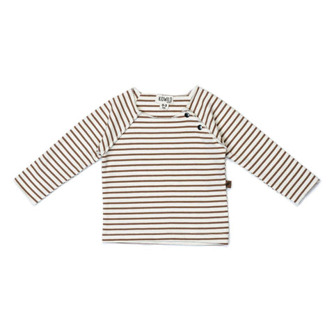 Organic Raw Edge Top - Caramel Stripe