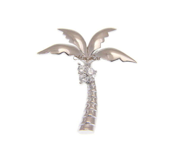 925 Sterling Silver Rhodium Plated Hawaiian CZ Coconut Palm Tree Slider Pendant