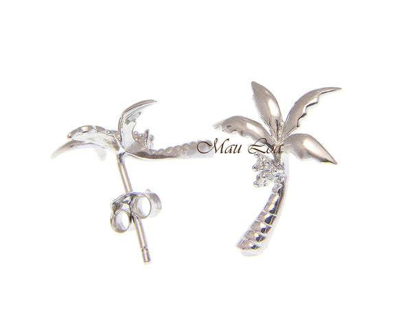 925 Sterling Silver Shinny Hawaiian Palm Tree CZ Coconut Post Stud Earrings