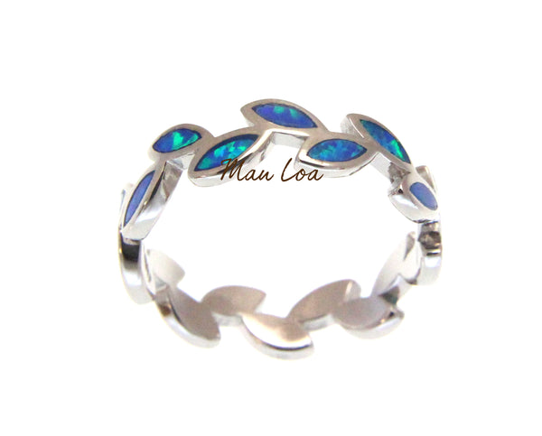 925 Sterling Silver Hawaiian Maile Leaf Leaves Blue Opal Ring Size 5-10