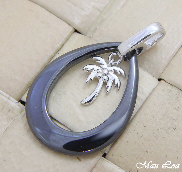 925 Silver Rhodium Hawaiian Coconut Palm Tree Black Ceramic Tear Drop Pendant