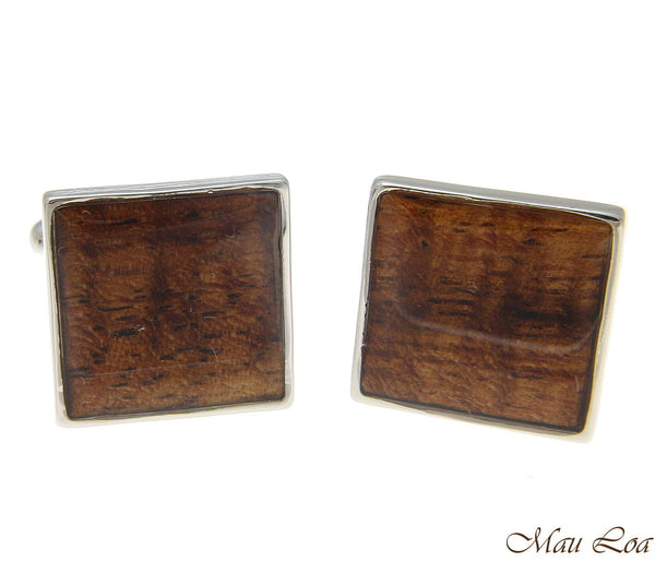 Koa Wood Hawaiian Rhodium Silver Plated Brass 16mm Square Shape Cufflink