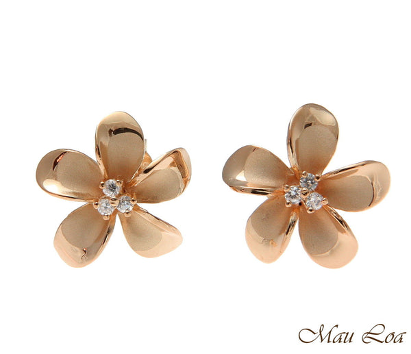 925 Silver Pink Rose Gold Hawaiian Plumeria Flower 3 CZ Stud Post Earrings