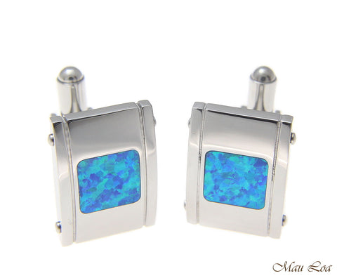 Stainless Steel Blue Opal 13x20mm Dome Men's Cufflink