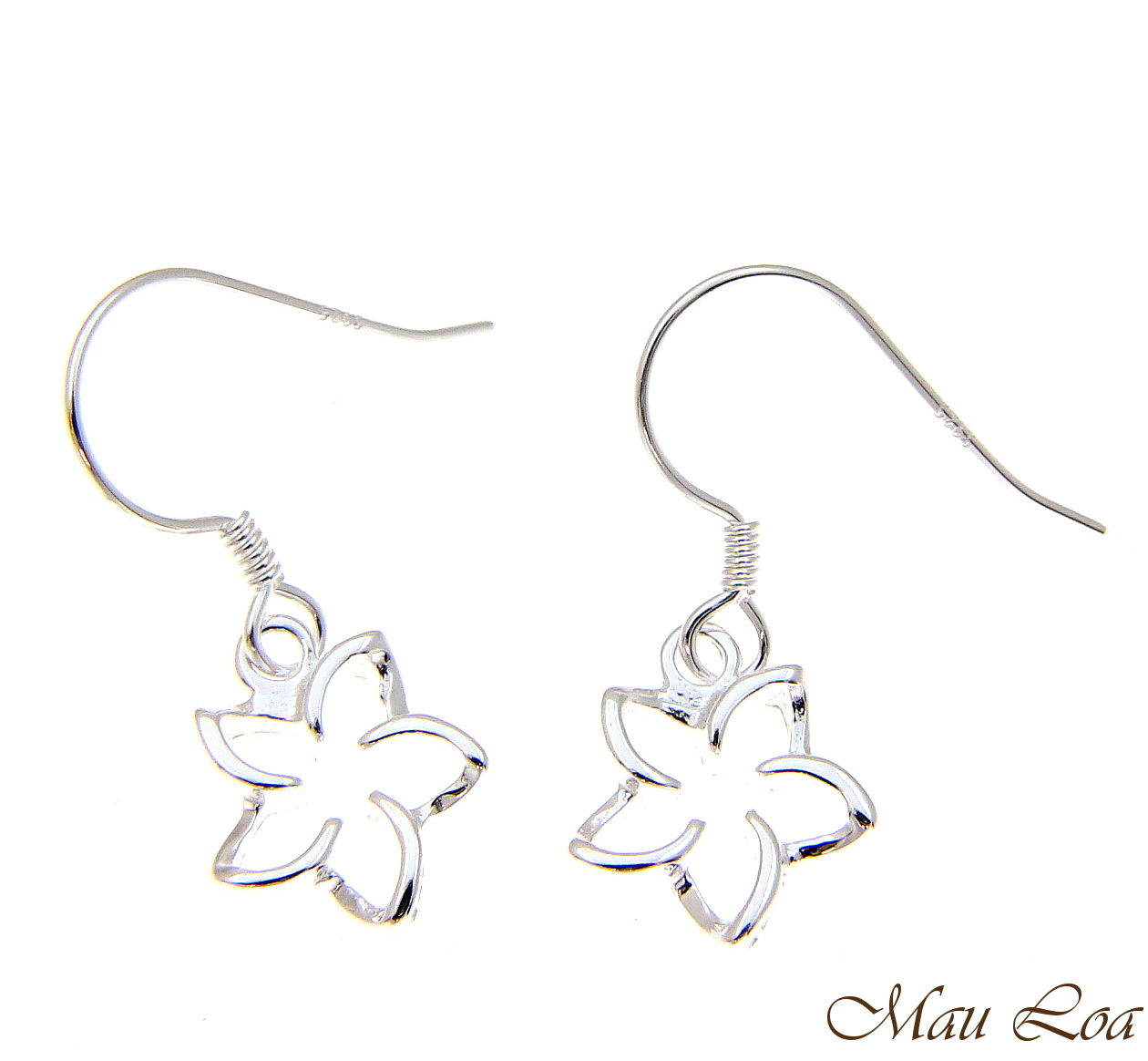 925 Sterling Silver Hawaiian Floating Outline Plumeria Flower Hook Wire Earrings