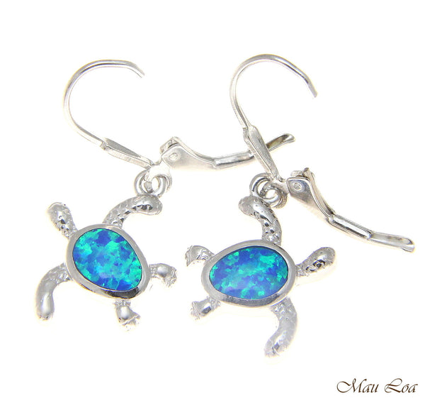925 Sterling Silver Rhodium Hawaiian Honu Turtle Blue Opal Leverback Earrings