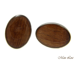 Koa Wood Hawaiian Rhodium Silver Plated Brass 17x22mm Oval Shape Cufflink