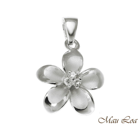 925 Sterling Silver Hawaiian Plumeria Flower 3 CZ Rhodium Pendant Charm 12-30mm