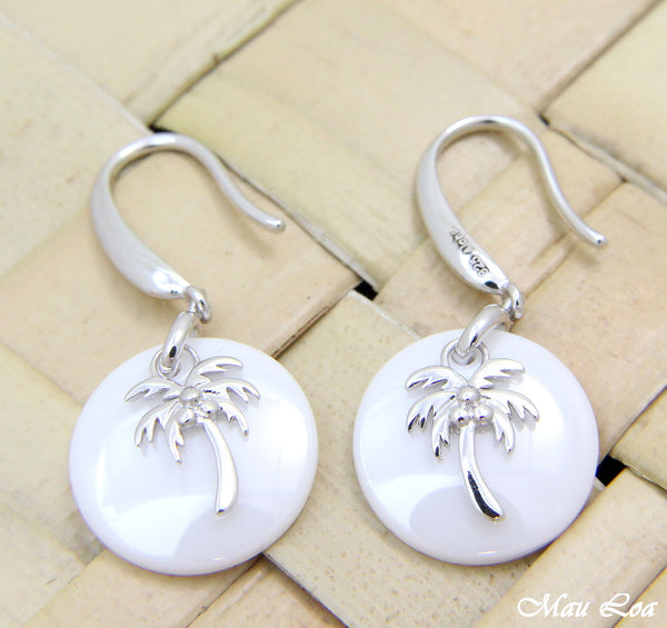 925 Silver Rhodium Hawaiian Coconut Palm Tree White Ceramic Circle Hook Earrings