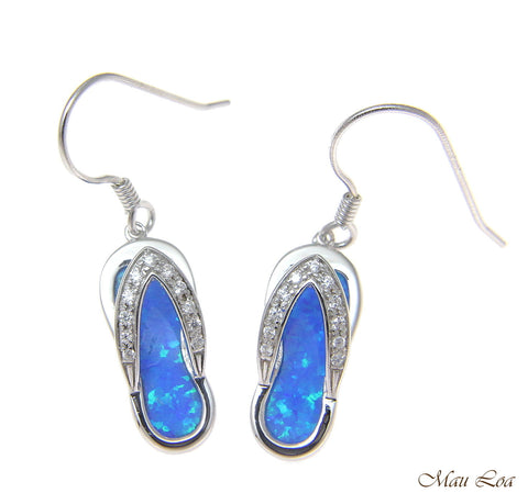 925 Sterling Silver Rhodium Hawaiian CZ Slipper Blue Opal Wire Hook Earrings