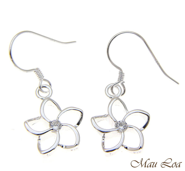 925 Silver Hawaiian Floating Outline CZ Plumeria Flower Hook Wire Earrings