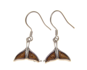 925 Sterling Silver Hawaiian Koa Wood Whale Tail Wire Hook Dangle Earrings