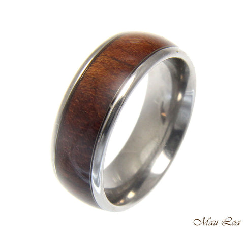 Stainless Steel Wedding Band 8mm Hawaiian Koa Wood Comfort Fit Ring Size 6-13