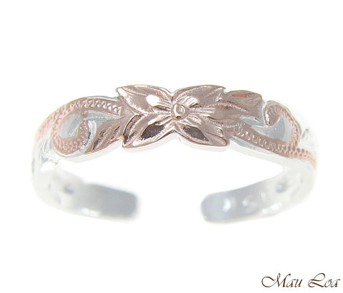 925 Sterling Silver Pink Rose Gold Hawaiian Plumeria Flower Scroll 4mm Toe Ring