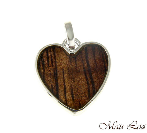 Koa Wood Hawaiian Wave 15mm Heart Rhodium Silver Plated Brass Reversible Pendant