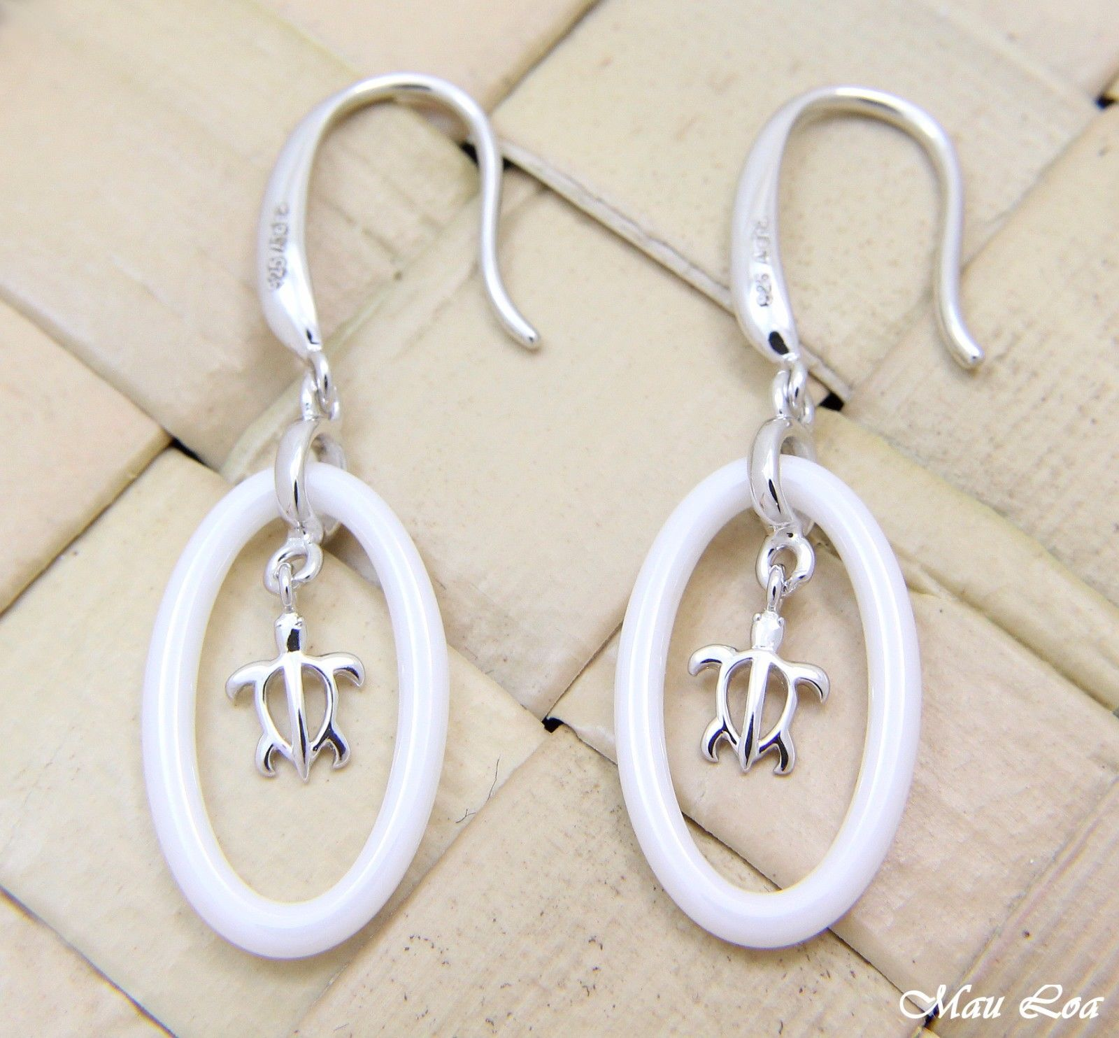 925 Silver Rhodium Hawaiian Honu Sea Turtle White Ceramic Oval Hook Earrings